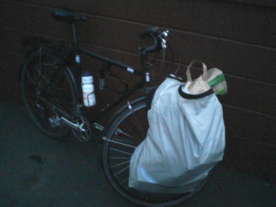 Large pannier filled with groceries